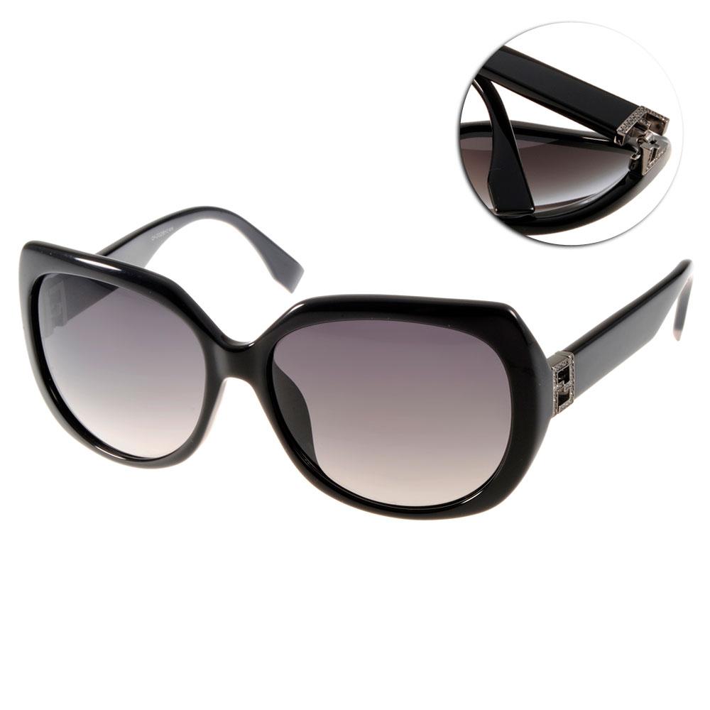FENDI太陽眼鏡 水鑽LOGO款/黑#FS0047FS D289O