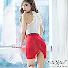 角色扮演 迷戀美肌超薄透膚後開衩短裙 豔麗紅 XOXOXO