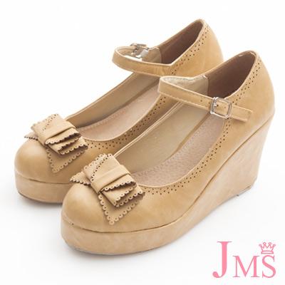 JMS-典雅氣質蝴蝶結楔型娃娃鞋-杏色