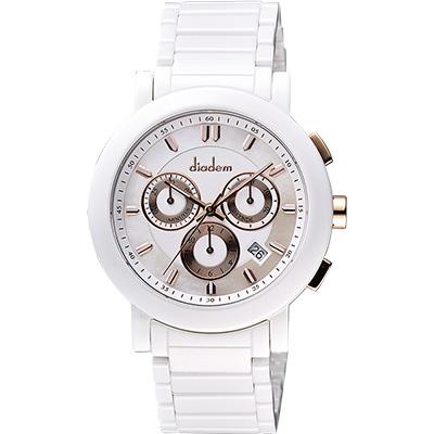Diadem 黛亞登 都會三眼計時白陶瓷腕錶-珍珠貝x玫塊金/41mm