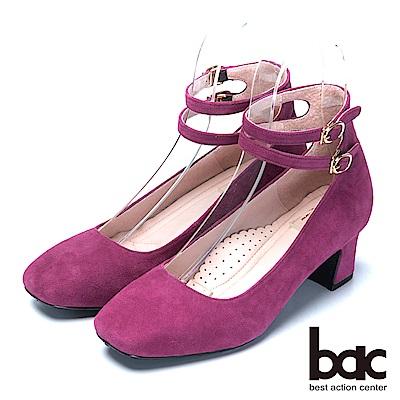 bac台灣製造 嚴選真皮瑪莉珍高跟鞋-紫紅