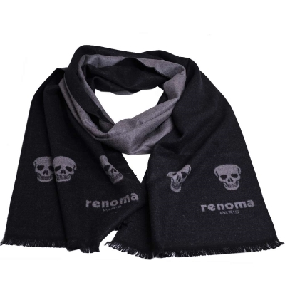 renoma PARIS 品牌字母LOGO骷髏圖騰圍巾(黑/灰色)