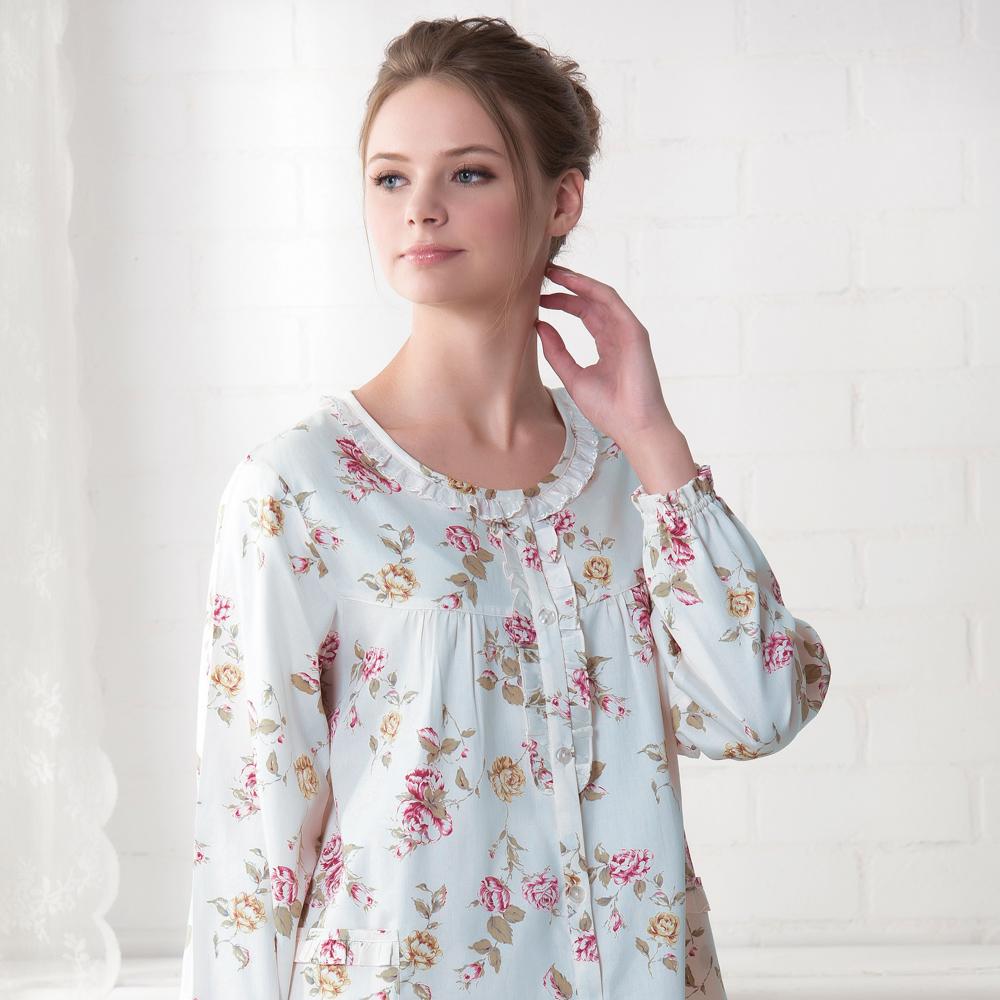 羅絲美睡衣 - 玫瑰心語圓花邊領長袖褲裝睡衣(水藍色)