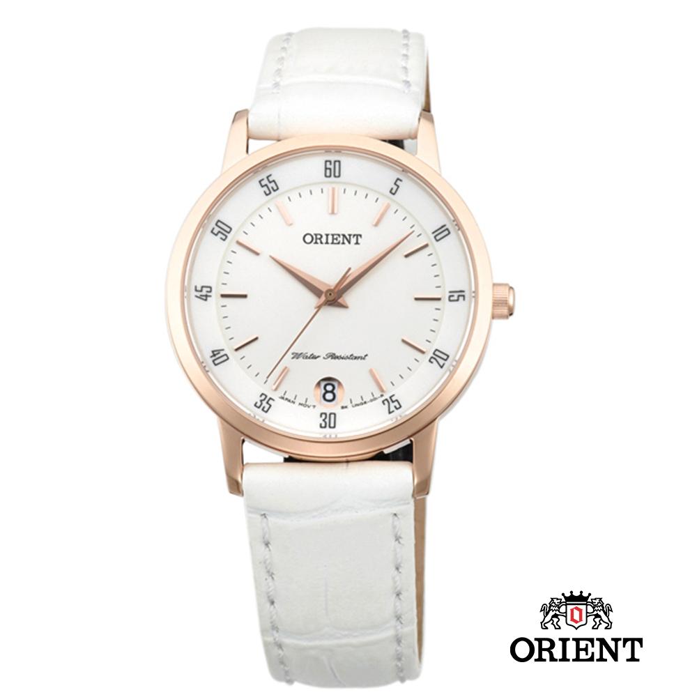 ORIENT 東方錶 SLIM系列 藍寶石鏡面皮帶女錶-白x玫瑰金框/31mm
