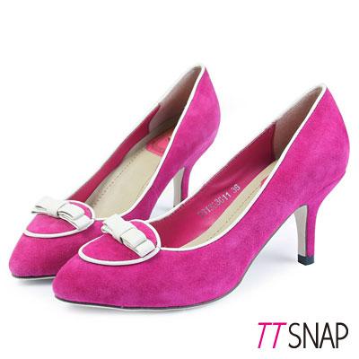 TTSNAP-尖頭高跟鞋-全真皮羊反絨蝴蝶結名媛精