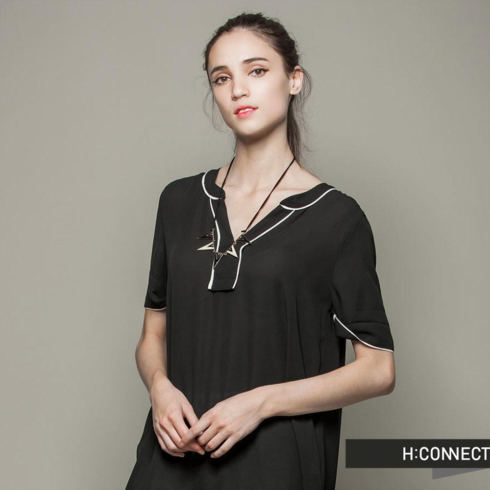 H:CONNECT 韓國品牌 女裝 - 飄逸垂墜感洋裝 - 黑(快)