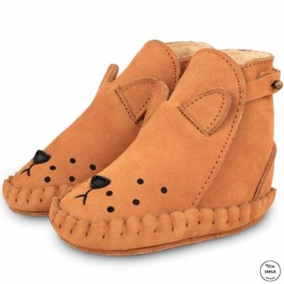 Donsje 荷蘭 橘色獅子款動物造型內刷毛蝴蝶結真皮寶寶靴子