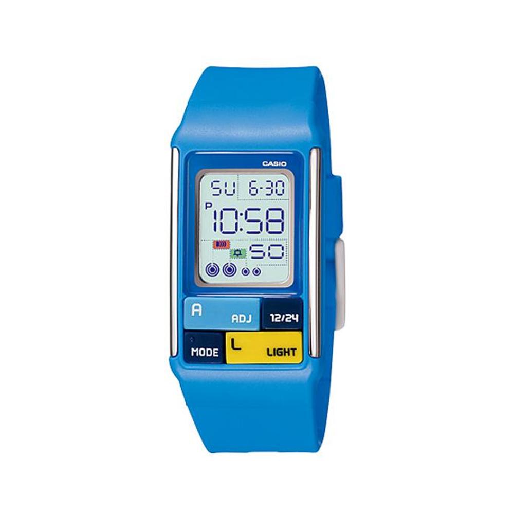 CASIO 太空漫步幾何方塊數字錶(LDF-50-2A)-藍/23.6mm