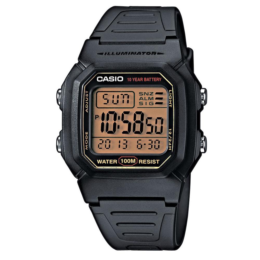CASIO10Year黑武士電子錶(W-800HG-9A)-黑x黃框/36.8mm