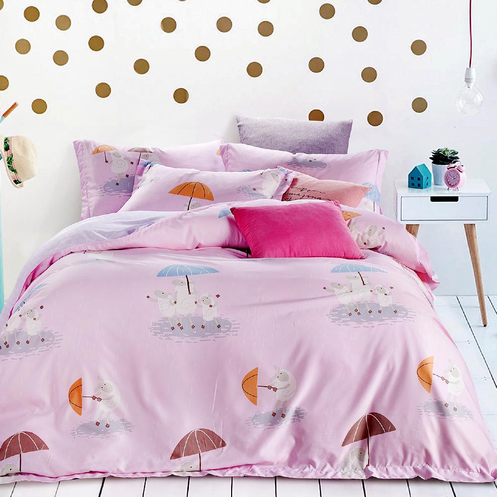 Saint Rose 呆萌羊 雙人吸濕排汗天絲兩用被套床包四件組