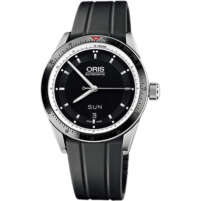 Oris Artix GT Day-Date 單向轉圈機械腕錶-黑x橡膠錶帶/42mm
