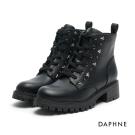 達芙妮DAPHNE 短靴-繫帶星型鉚釘粗中跟馬丁短靴-黑