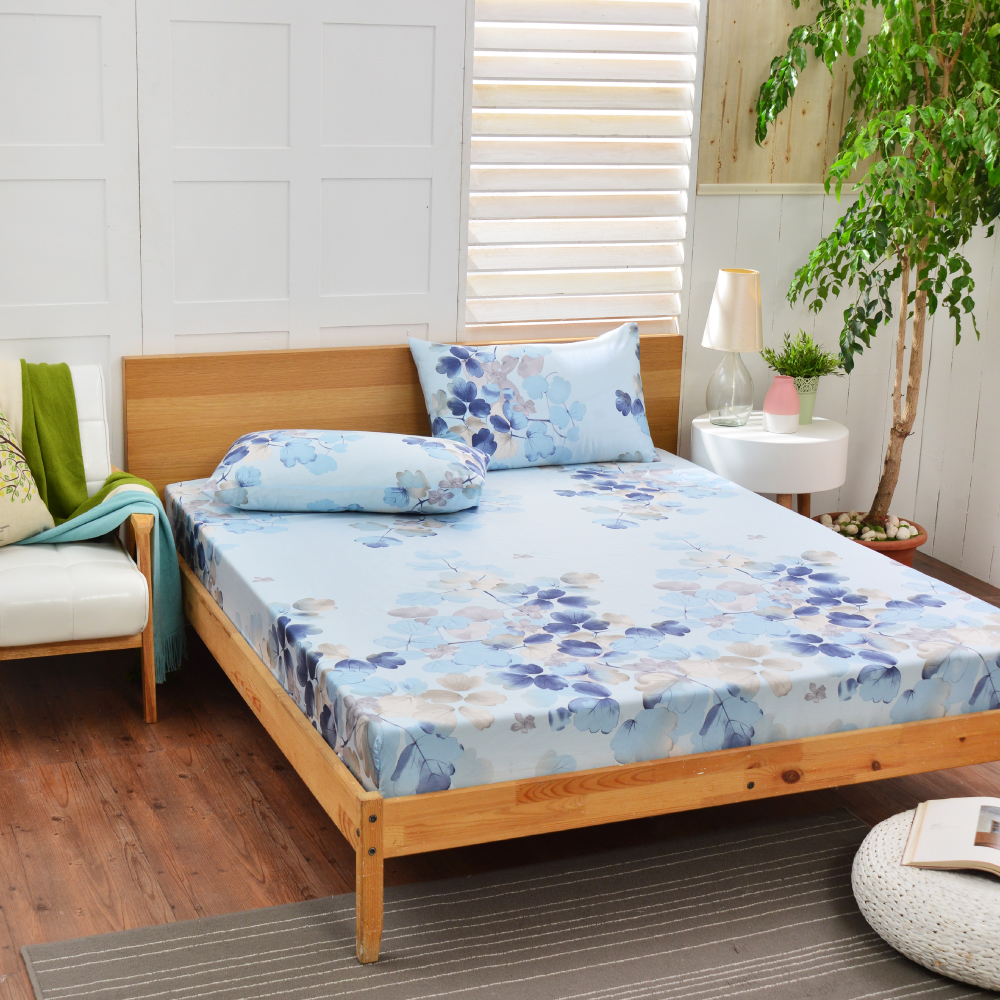 Saint Rose 卉影-藍 雙人100%純天絲枕套床包三件組