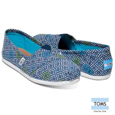 TOMS 復古窗花圖騰帆布懶人鞋-女款(藍)