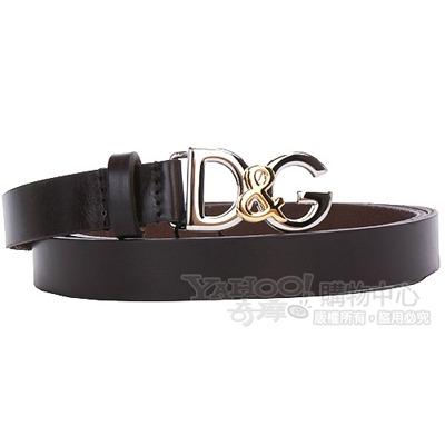 DOLCE & GABBANA 金屬logo飾窄版皮帶(巧克力色)