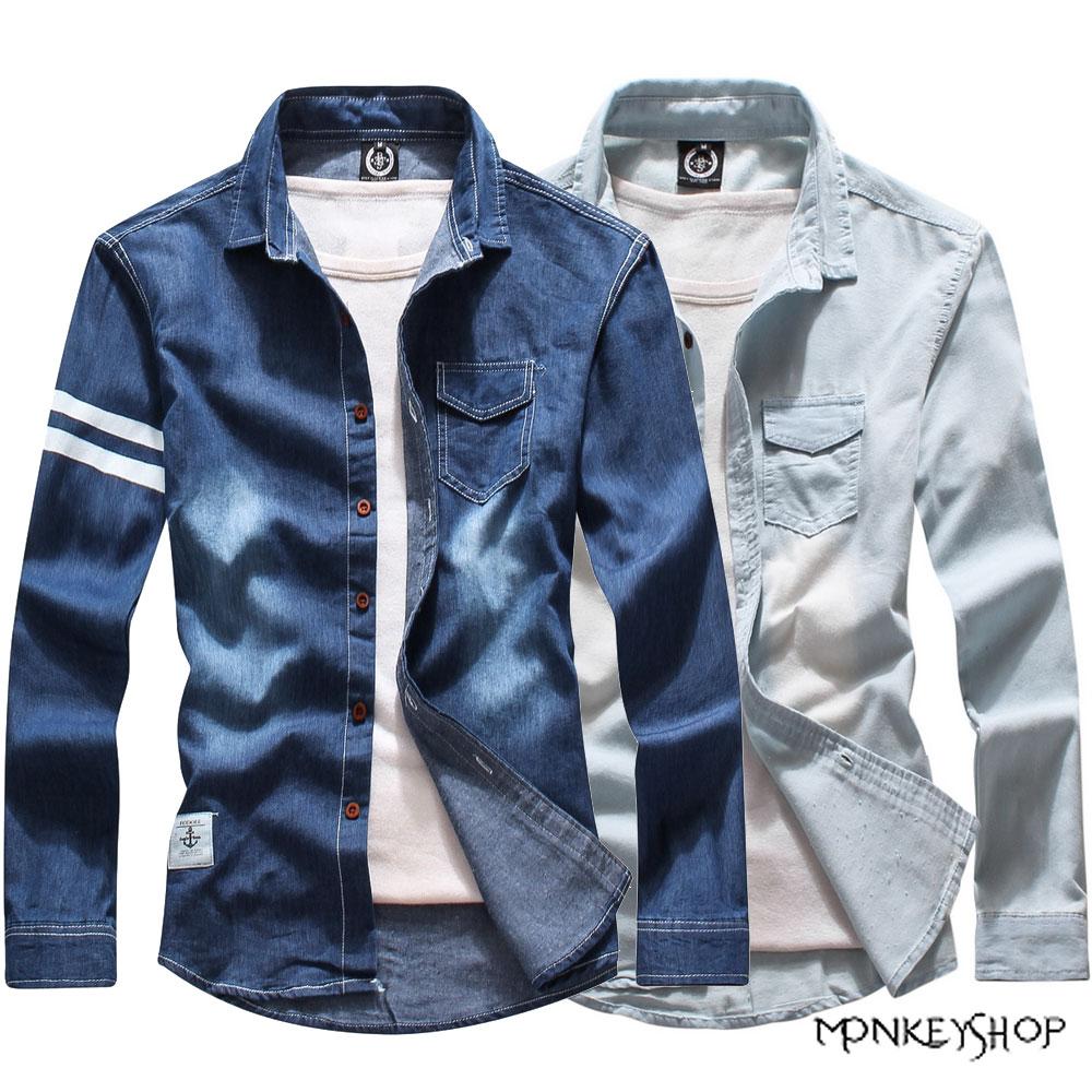 小猴子的賣場 韓版接袖洗水刷色牛仔長袖襯衫-2色
