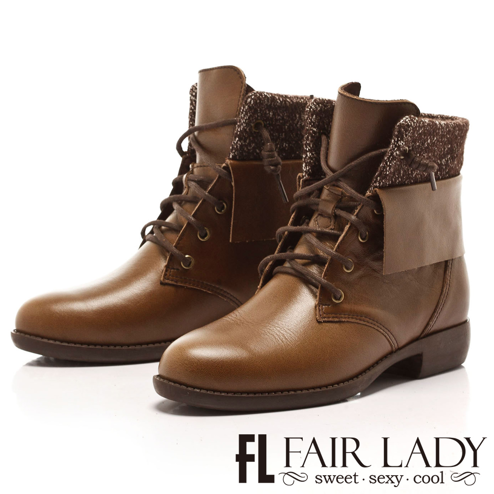 Fair Lady 瀟灑反摺拼接軍風短靴  橄欖綠