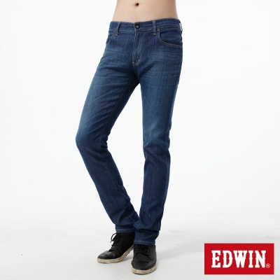 EDWIN 大尺碼窄直筒 EDGE COOL繡邊牛仔褲-男-中古藍