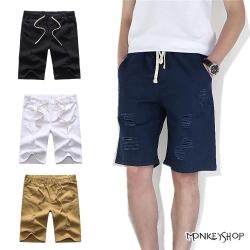 Monkey Shop 抽繩塊狀割破設計休閒牛仔短褲-4色