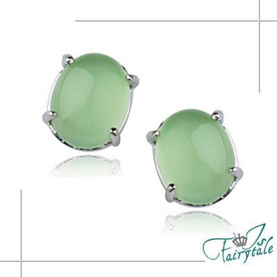 iSFairytale伊飾童話 綠琥珀圓珠 天然玉髓耳環