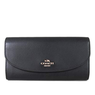 COACH-金馬車Logo鵝卵石紋皮革壓扣式長夾-黑色