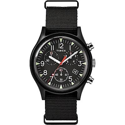 TIMEX 天美時 MK1 潮流軍錶 三眼計時手錶-黑/40mm
