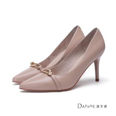 達芙妮DAPHNE-高跟鞋-金屬飾帶真皮尖頭鞋-駝