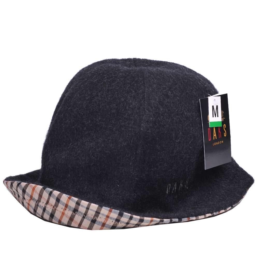 DAKS 反摺格紋LOGO刺繡抗UV纖維漁夫帽(黑色)