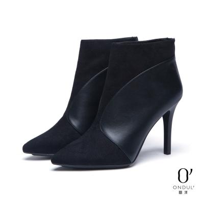 達芙妮x高圓圓-圓漾系列-短靴-型拼接尖頭高跟踝靴-黑8H