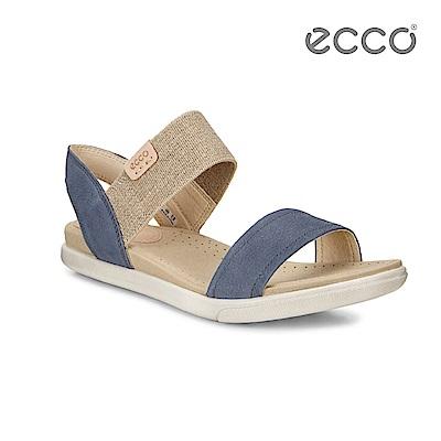 ECCO DAMARA SANDAL 棉麻意象平底涼鞋-藍