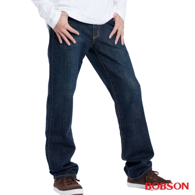 【BOBSON】男款嘻哈酷中直筒牛仔褲(深藍52)