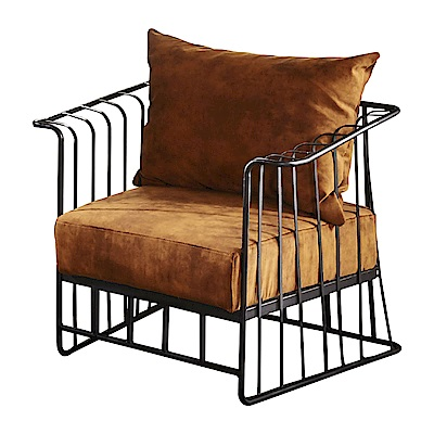 AT HOME-工業風設計柵欄式鐵藝仿舊深桔布沙發椅(79*67*69cm)
