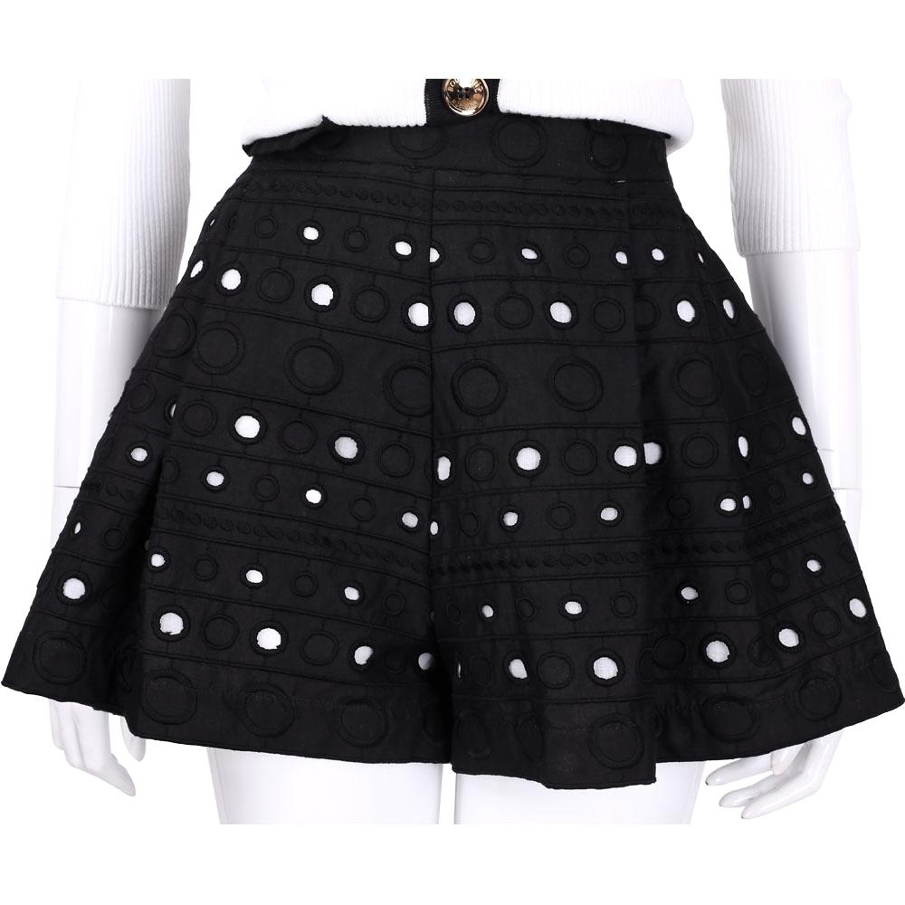 BOUTIQUE MOSCHINO 黑色圈圈刺繡拼接縷空短褲裙