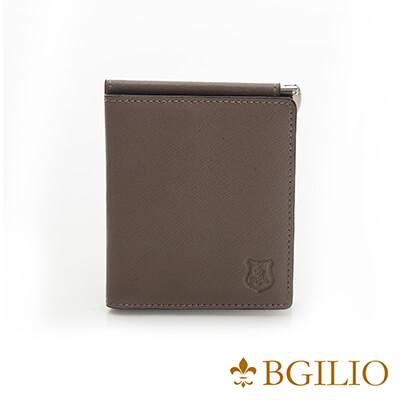 義大利BGilio-都會十字紋牛皮歐風輕薄短夾-咖啡色-2299.301-03
