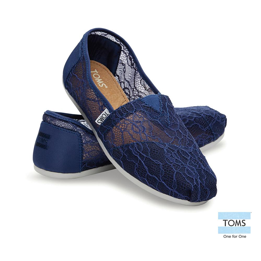 TOMS 經典雕花蕾絲懶人鞋-女款(藍)