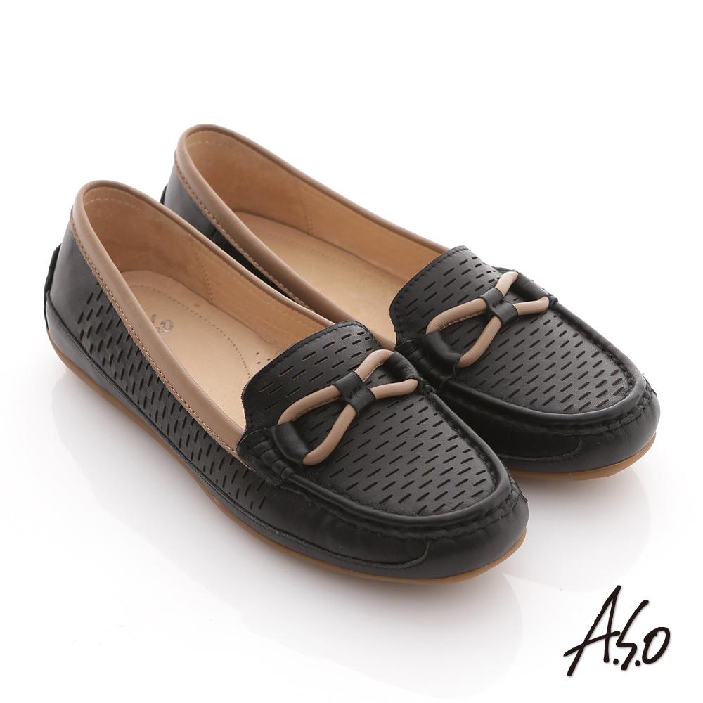 A.S.O 舒適便鞋 全真皮拼色樂福平底鞋 黑
