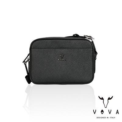 VOVA -  波隆納系列十字紋斜背包-小 - 時尚黑