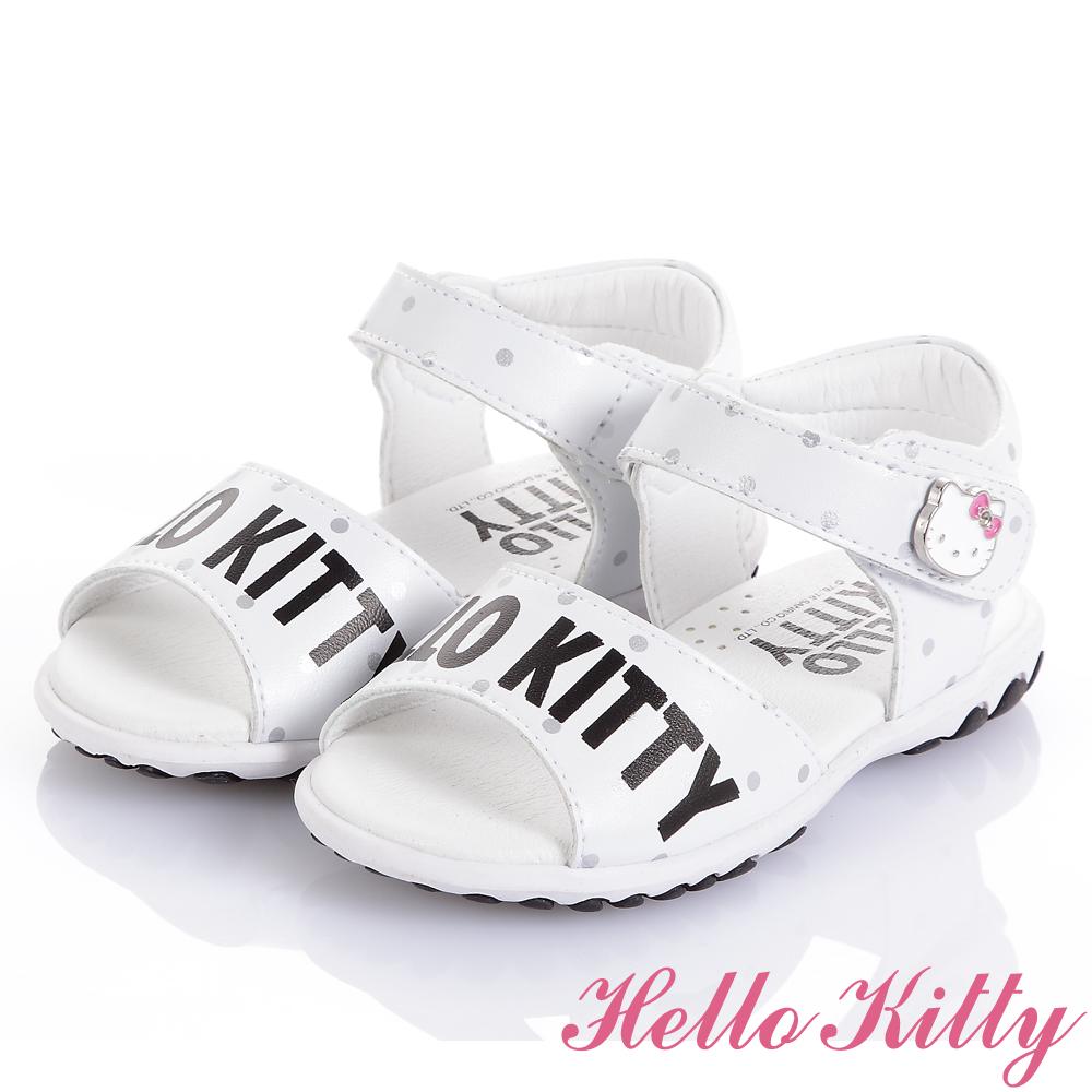 (獨賣款)HelloKitty手工頂級超纖涼鞋童鞋-白(中小童)