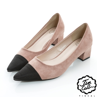 TINCAL-經典名伶-質感優雅絨面雙色低跟鞋-粉色