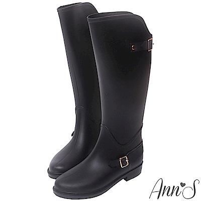 Ann'S雨天-後V顯瘦金扣繫帶長筒雨靴-黑