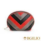 義大利BGilio-蠟感牛皮復古配色化妝包(大)-黑色-1954.301-05