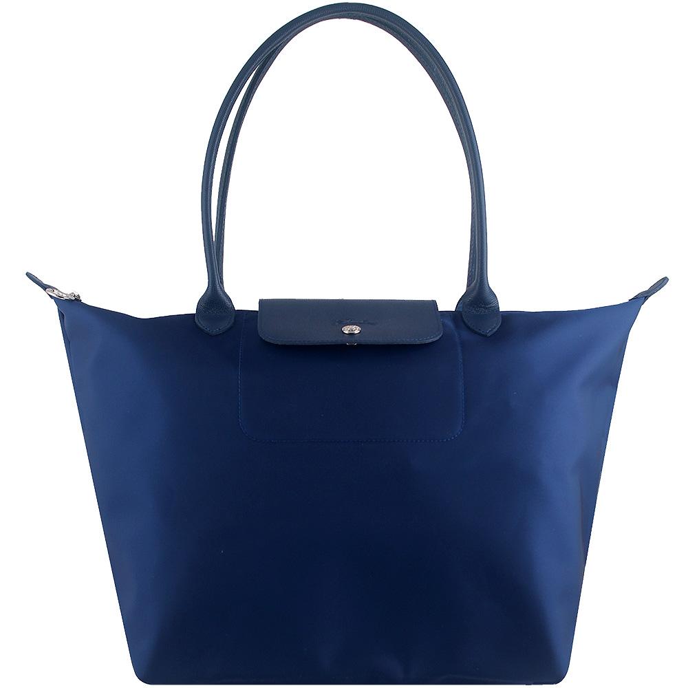 Longchamp 厚質尼龍長帶水餃包(藍色/大)LONGCHAMP