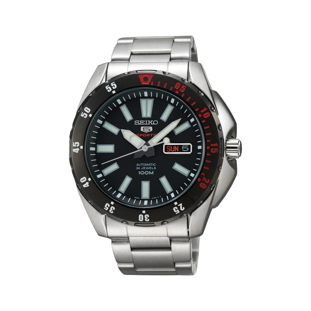 SEIKO 精工5號24石黑夜計畫機械腕錶(SRP361J1)-黑/42mm
