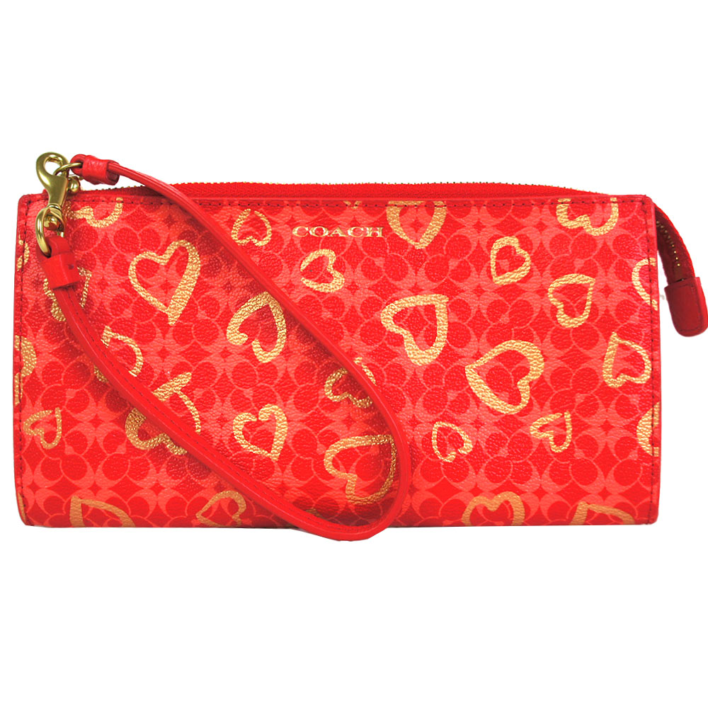 COACH 愛心防刮PVC長型手拿包(紅)COACH