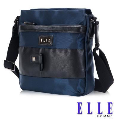 ELLE HOMME 時尚閃耀 側背包 IPAD層 搭配頂級頭層皮亮系設計-優雅藍