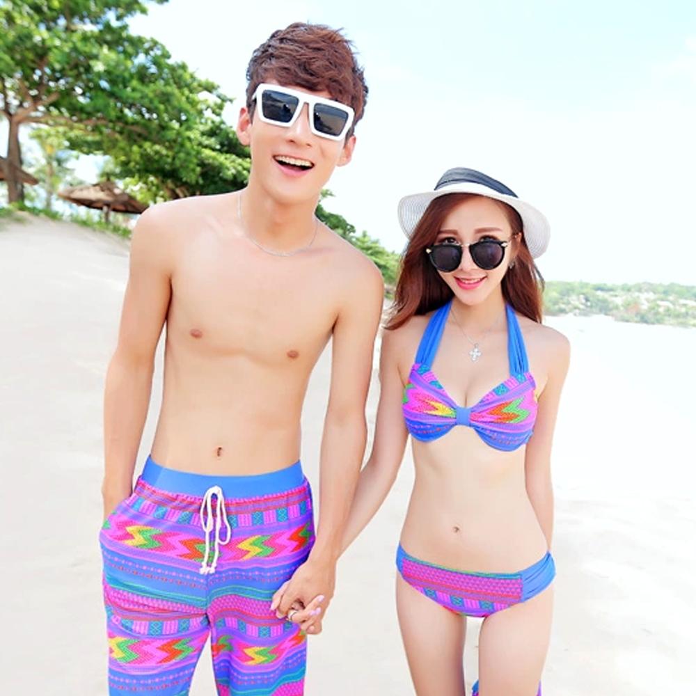 Biki比基尼妮,紫色芬麗情侶泳衣男泳褲(男生購買區)