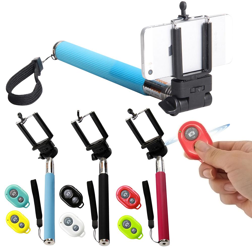 手機通用遙控自拍神器+七段伸縮萬能自拍架(送手機托架)