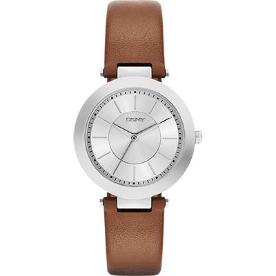 DKNY Stanhope 名模風采時尚腕錶-銀x咖啡色錶帶/36mm