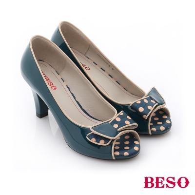 BESO-復古風潮-鏡面點點魚口跟鞋-綠色