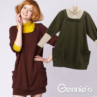 Gennie-s奇妮-復古假兩件秋冬長版哺乳衣-G